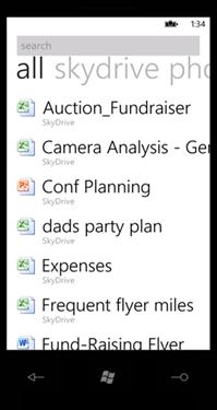 SkyDrive 上のドキュメントを検索する