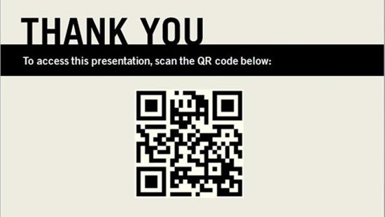 QR コードを作成して、プレゼンテーションの印刷バージョンに含める